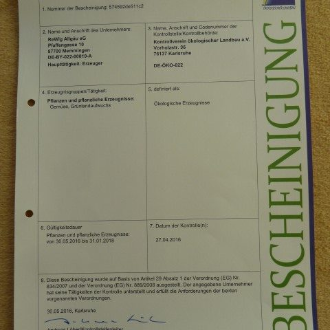 Zertifikat Bio Bescheinigung